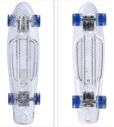 """Skateboard Transparant met Led Wieltjes  blauw 22"""" 57cm"""