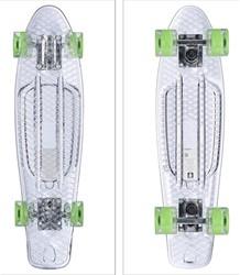 """Skateboard Transparant met Led Wieltjes  groen 22"""" 57cm"""