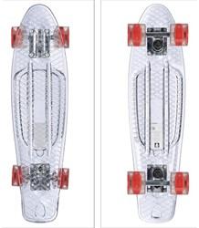 """Skateboard Transparant met Led Wieltjes  rood 22"""" 57cm"""