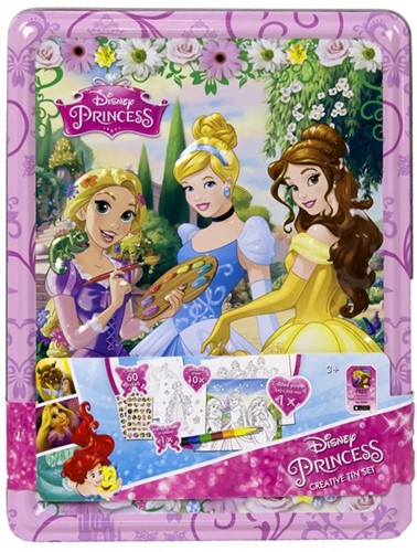 Disney Princess Creative set in blik met poster en stickers 18x24cm