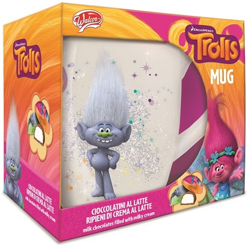 Trolls Mok 2 assorti 10,5x12cm (Zonder Chocola)