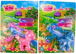 Pony 10cm op kaart met accessoires 2 assorti kleur