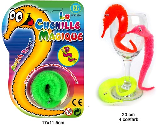 Magische Chenille Worm 20cm 4assorti op kaart