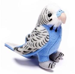 Pluche Parkiet blauw grijs 14cm