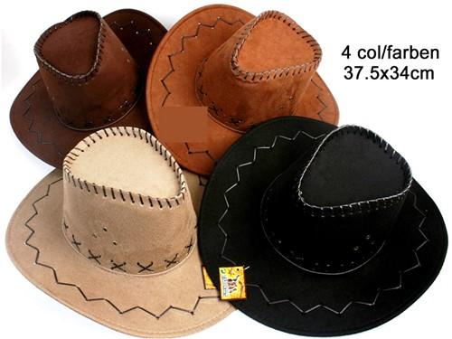 Cowboyhoed nubuk 4 assorti kleur