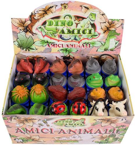 Dieren in koker met kop 12 assorti in display