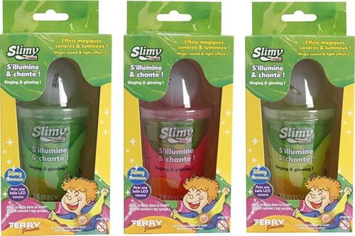 Slimy Slijm 140gram in pot met LED Licht en geluid 3 assorti 9x17cm