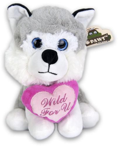 Pluche Husky zittend met hart 21cm