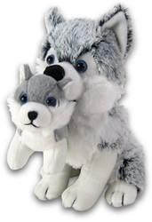 Pluche Husky zittend met baby 32cm