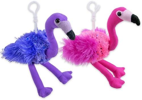 "Pluche Flamingo Bagclip Paars Roze ""Stars"" 2 assorti 15cm"