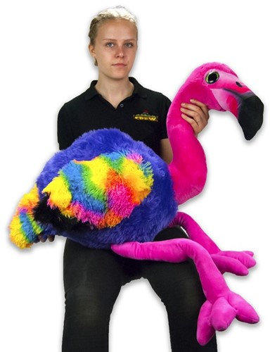 "Pluche Flamingo ""Rainbow"" Roze Kop 110cm (staand)"