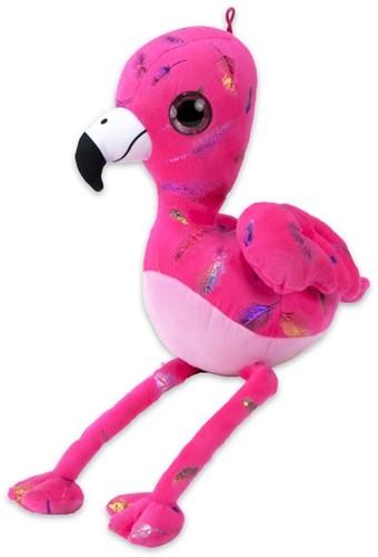 Pluche Flamingo Feather Print Roze 25cm