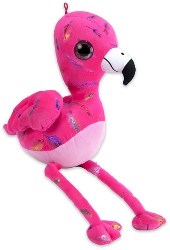 Pluche Flamingo Feather Print Roze 30cm