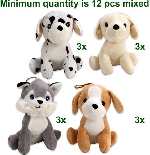 Pluche Puppies zittend 4 assorti 15cm