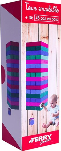 Houten stapelblokjes gekleurd 48 stuks 8x27cm