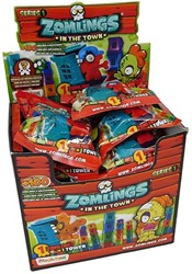 Blind bag Zomlings in the Town Series 1 in display