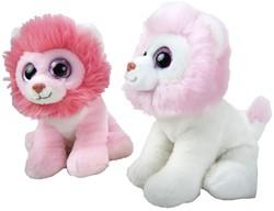 "Pluche Leeuw Rose ""Pinky"" zittend 2 assorti 21cm"