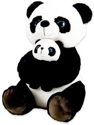 Pluche Panda zittend met baby 32cm