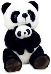 Pluche Panda zittend met baby 25cm