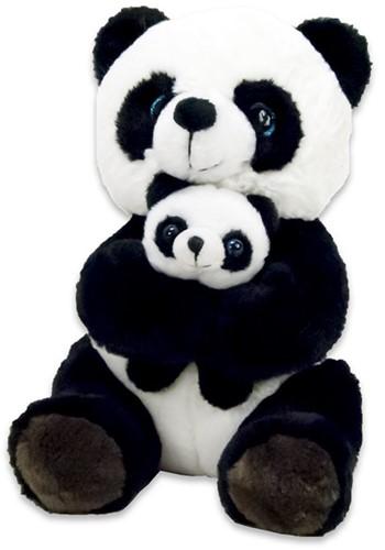 Pluche Panda zittend met baby 20cm