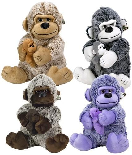 Pluche Gorilla Snowy met baby 4 assorti 25cm
