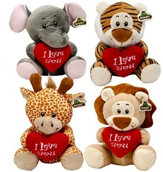 Pluche Wildlife I Love You 4 assorti 23cm