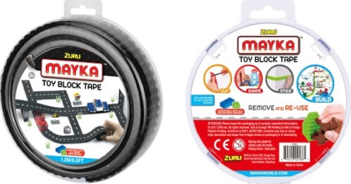 Zuru Mayka Toy Block Tape Bouwstrips Zwart 1,2 meter lang, 4cm breed (4 studs) in display (6)