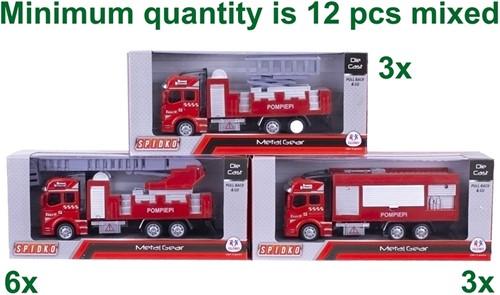 Die-Cast Brandweerwagen Pull back 3 assorti 11x26cm