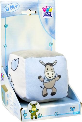 Baby kubus met belletje, blauw/wit/grijs, ezel