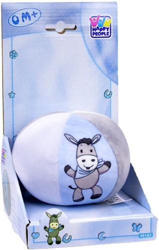 Baby bal met belletje 10cm, blauw/wit/grijs, ezel
