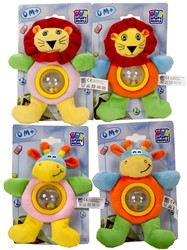 Happy People Pluche Baby Rammelaar 2 assorti 20cm