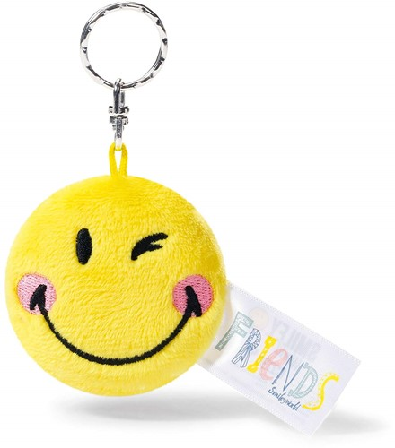 Nici Smiley Friends Pluche sleutelhanger gele Smiley +-6cm