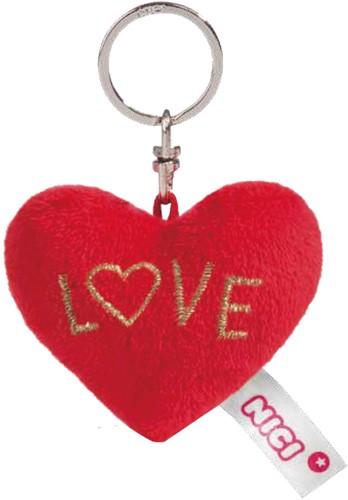 Nici Pluche Hart sleutelhanger Love