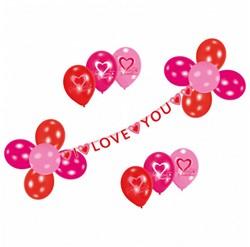 Deko Set, Guirlande met 17 ballonnen Sweet Love