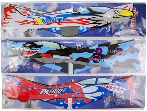 Werpvliegtuig foam 45x43cm 3 assorti in display