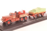 Truck schaalmodel 1:76 Diamond T & Trailer