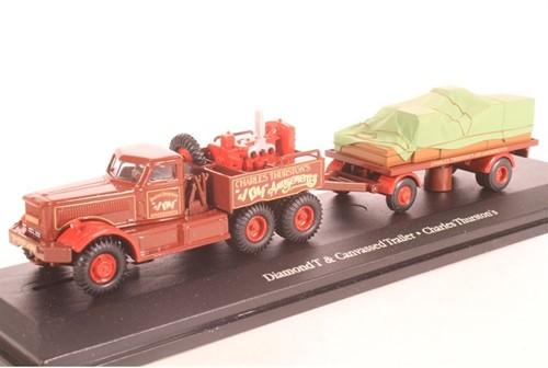 Truck schaalmodel 1:76 Diamond T & Trailer