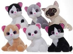 Glitter Eye Cats 6 assorti 28cm