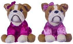 Pluche Bulldog in roze jurk 2 assorti 20