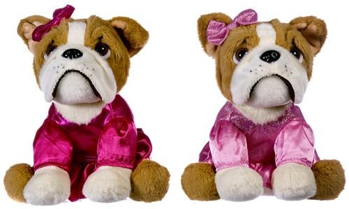 Pluche Bulldog in roze jurk 2 assorti 20cm