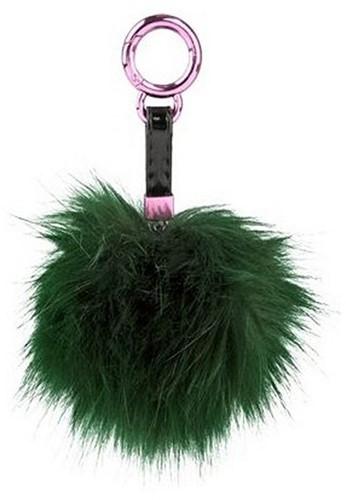 Pompom sleutelhanger Zwart 10cm
