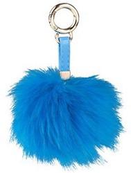 Pompom sleutelhanger blauw 10cm