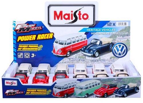 Maisto Die-Cast voertuigen VW 11cm 4 assorti in display