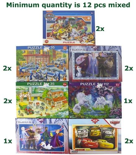Kinder Puzzel Diverse Licenties 7 assorti 35, 63, 112 delig (Frans)