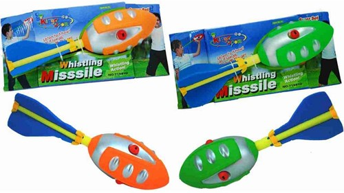 Whistling Missile Ball met 3 fluitjes 2 assorti 30cm