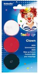 Schminkset Aqua Clown 3 kleuren wit/rood