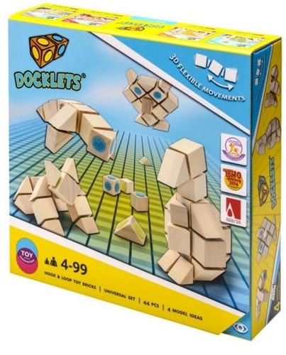 Docklets houten bouwblokken, 3D flexibel, 44 delen, universele set 32x32cm