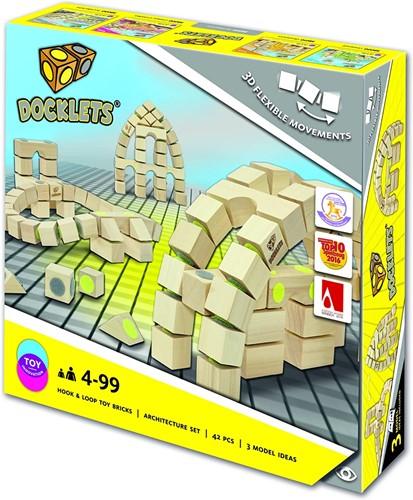 Docklets houten bouwblokken, 3D flexibel, 42 delen, architectuurset 32x32cm