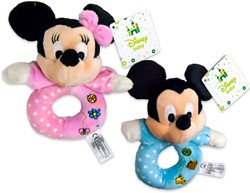Disney Mickey Baby Pluche Rammelaar 2 assorti