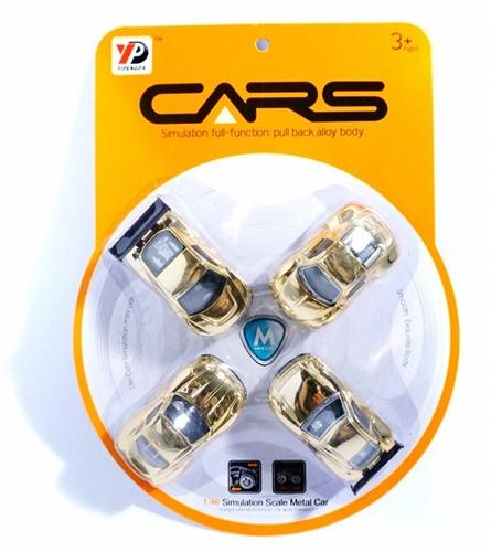 Auto 7cm Die-Cast 1:48 met Pullback 4 stuks op kaart